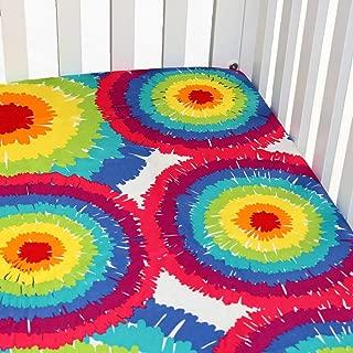 One Grace Place Terrific Tie Dye Tie Dye Crib Sheet, Aqua Blue, Royal Blue, Purple, Yellow, Green, Orange, Pink, Red and White