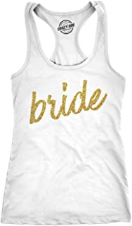 Womens Bride Script Tank Top Cute For Wedding Shower Bachelorette Party Glitter