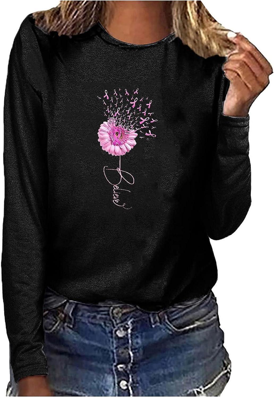 Breast Cancer Awareness Pink T-Shirt Womens Long Sleeve Inspirational Sweatshirts Pullover Tops
