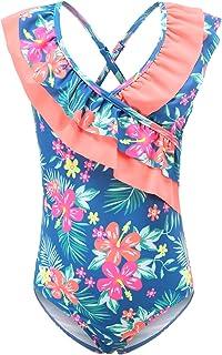 ملابس سباحة للفتيات قطعة واحدة بذيل طويل هاواي ثوب استحمام للأطفال للشاطئ والزهري 3-16 سنة