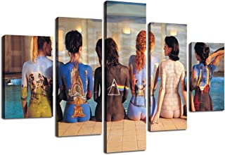 Yatsen Bridge Wall Art Modern Canvas Pink Floyd Back Catalogue Painting Pictures for Living Room HD Print 5 PCS Artwork Artwork for Wall Decor Gallery-Wrapped Stretched Ready to Hang(60''Wx40''H)