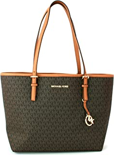 7c47201edbd9 Michael Kors Large Shopper Tote Bag Brown/Acorn Monogram PVC Jet Set Handbag