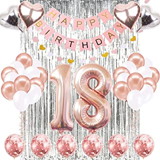 18th Birthday Decorations Banner Balloon, Happy Birthday Banner, 18th Rose Gold Number Balloons, Number 18 Birthday Balloons, 18 Years Old Birthday Decoration Supplies Sweet Eighteen Decorations