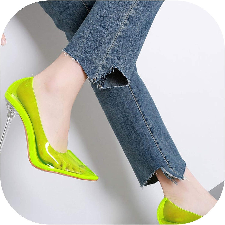 Alerghrg Clear PVC Transparent Pumps Sandals Perspex Stilettos High Heels Point Toes shoes Pump Rosy