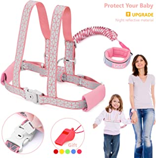Toddler Leash & Harness for Safety, GKCI Child Anti Lost Wrist Link-Toddlers Harnesses Leashes for Walking-Keep Kids & Babies Close with You-Upgrade with Reflective Tape Liner-6.5ft (Pink)