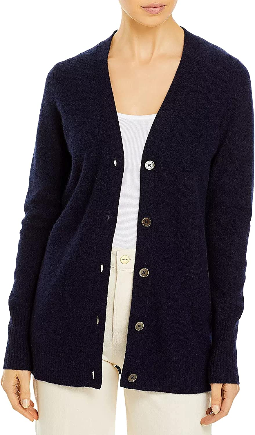 Women's Casual Knit Cardigan Button Down V-Neck Everyday Sweater Comfy Long Sleeve Coat Classic