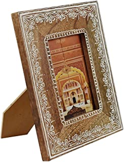Indian Heritage Wooden Photo Frame 4x6 Mango Wood in Natural Wood Color with White Henna Painting Design