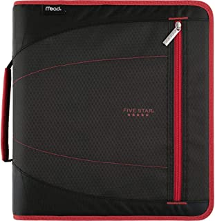 Five Star 2 Inch Zipper Binder, 3 Ring Binder, Removable File Folders, Durable, Red/Black (29036CE8)
