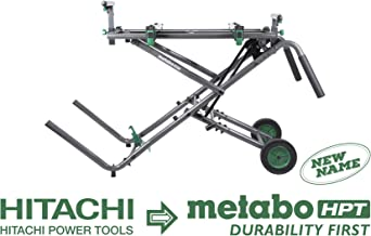 Metabo HPT UU240R Universal Folding Miter Saw Stand With Wheels, Accepts up to a 12-Inch Sliding Miter Saw, Heavy-duty Tubular Steel Construction, Large 8-Inch Rubber Treaded Wheels, 5-Year Warranty