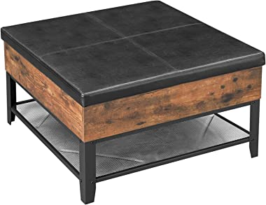 VASAGLE COPADION Ottoman Coffee Table, Square Coffee Table With Storage, for Living Room, Metal and Padded Synthetic Leather, Industrial Style, Rustic Brown ULCT77BX