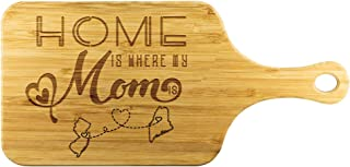 Funny Long Distance Relationship Bamboo Engraved Cutting Board - Home Is Where My Mom Is New Jersey State NJ And Maine State ME - Mom Gifts, Anniversary, Birthday Gift