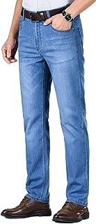 Heren klassieke rechte pijpen regular fit stijlvolle denim jeans, lente en zomer dunne rechte losse business casual stretc...
