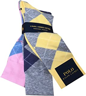 Mens 3 Pair Antimicrobial Combed Cotton Argyle Sock
