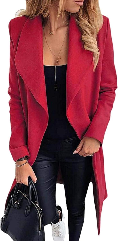 Zjeia Denver Mall Women's Basic Long Sleeve Plain Wool Blend Selling Co Pea Mid-Long