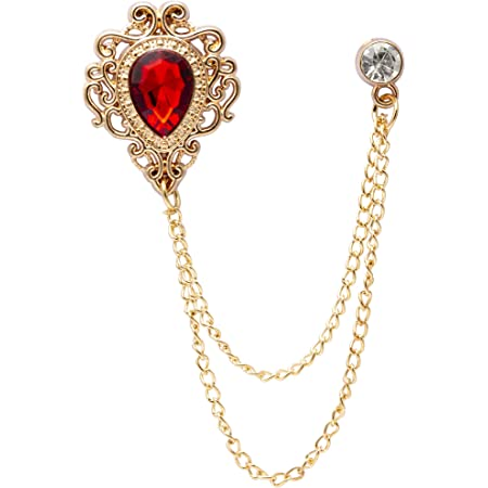 AN KINGPiiN Lapel Pin for Men Stone with Crystal Engraving and Hanging Chain Brooch Suit Stud Shirt Studs Mens Accessories Red