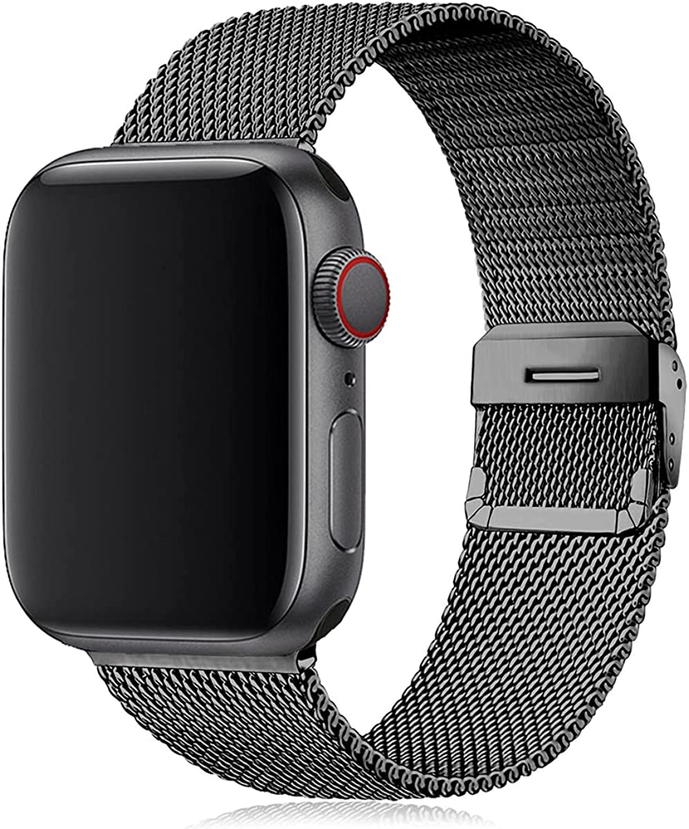 Stainless Steel Absorption Strap for iWatch Metal Mesh Quick Release Buckle Compatible with Apple Watch Series 6/SE/5/4/3/2/1