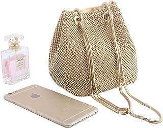 LETODE - Bolsas de noche para mujer con cristales de imitación para el hombro, bolso de cubeta para el hombro, bolso de cuerpo cruzado