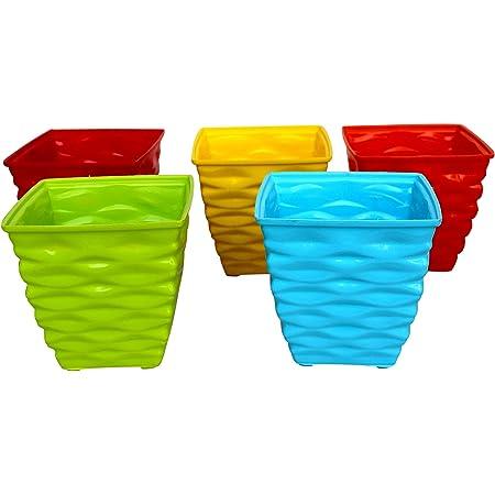 GARDENS NEED 110003 Plastic Diamond Pot Set (Multicolored, 5-Pieces)
