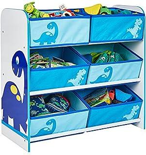 PEGANE Meuble de Rangement Enfant avec 6 bacs, Coloris Bleu Motif Dinosaures - Dim : H 60 x L 63,5 x P 30 cm