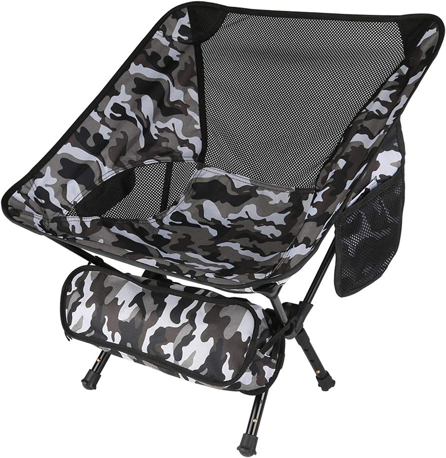 Portable Camping Chairs with Adjustable Height  Ultra Light Compact Folding Backpacking Chair with Carrying Bag, Heavy Duty 330 lb Capacity for Outdoor, BBQ, Hiking, Picnic, Fishing, Festival