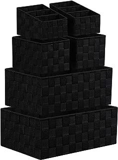 KEDSUM Woven Storage Box Cube Basket Bin Container Tote Cube Organizer Set, Stackable Storage Basket Woven Strap Shelf Organizer, Nylon Storage Basket for Closet, Shelf, Office, Set of 6, Black