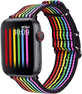 Bandmax Rainbow Watch Band Compatible for Apple Watch,LGBT Woven Nylon Wristband Replacement Sport Strap Compatible for iW...