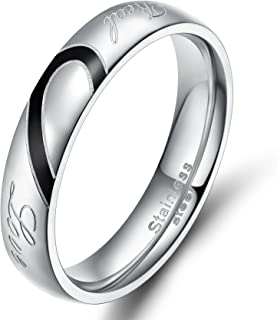 Stainless Steel Ring Real Love Heart Valentine Couples Wedding Band Size 4.5-15