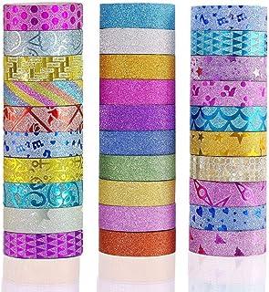 Phantomon Lot de 30 rouleaux de ruban adhésif décoratif pour loisirs créatifs, bricolage, scrapbooking, paillettes Washi M...