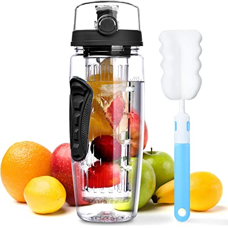 beach Love White bottom and cap with Straw Invictaprint ISLAND Clear Water Bottle BPA Free with Fruit Infuser Hiking Gym Multi Purpose For Cycling