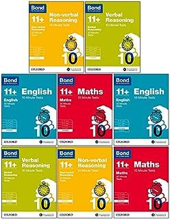 Bond 11+:10 Minute Tests Year 7-9 Bundle -8 Books Set: English, Maths, Non-verbal Reasoning, Verbal Reasoning