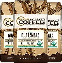 Fresh Roasted Coffee LLC, Organic Guatemalan Huehuetenango Coffee, Medium Roast, USDA Organic, Fair Trade, Ground Coffee, 12 ounce Bag, 3 Pack