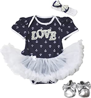 Petitebella Baby Girls' Bling Love Dress Sailor Anchor Bodysuit Romper Shoes