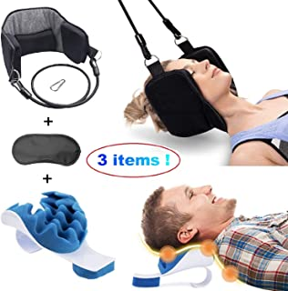 Neck Hammock Cervical Traction Device. Doorknob Head Support Pain Relief, Relaxer Chiropractic Pillow Bundle Cervical Spine Alignment, Eye mask. Portable Orthopedic Back Collar Corrector Body Posture