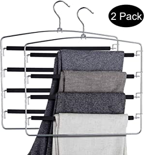 DOIOWN Pants Hangers Slacks Hangers Space Saving Non Slip Stainless Steel Clothes Hangers Closet Organizer for Pants Jeans Trousers Scarf (2-Pack, Large size17.1''High x 15.9''Width)