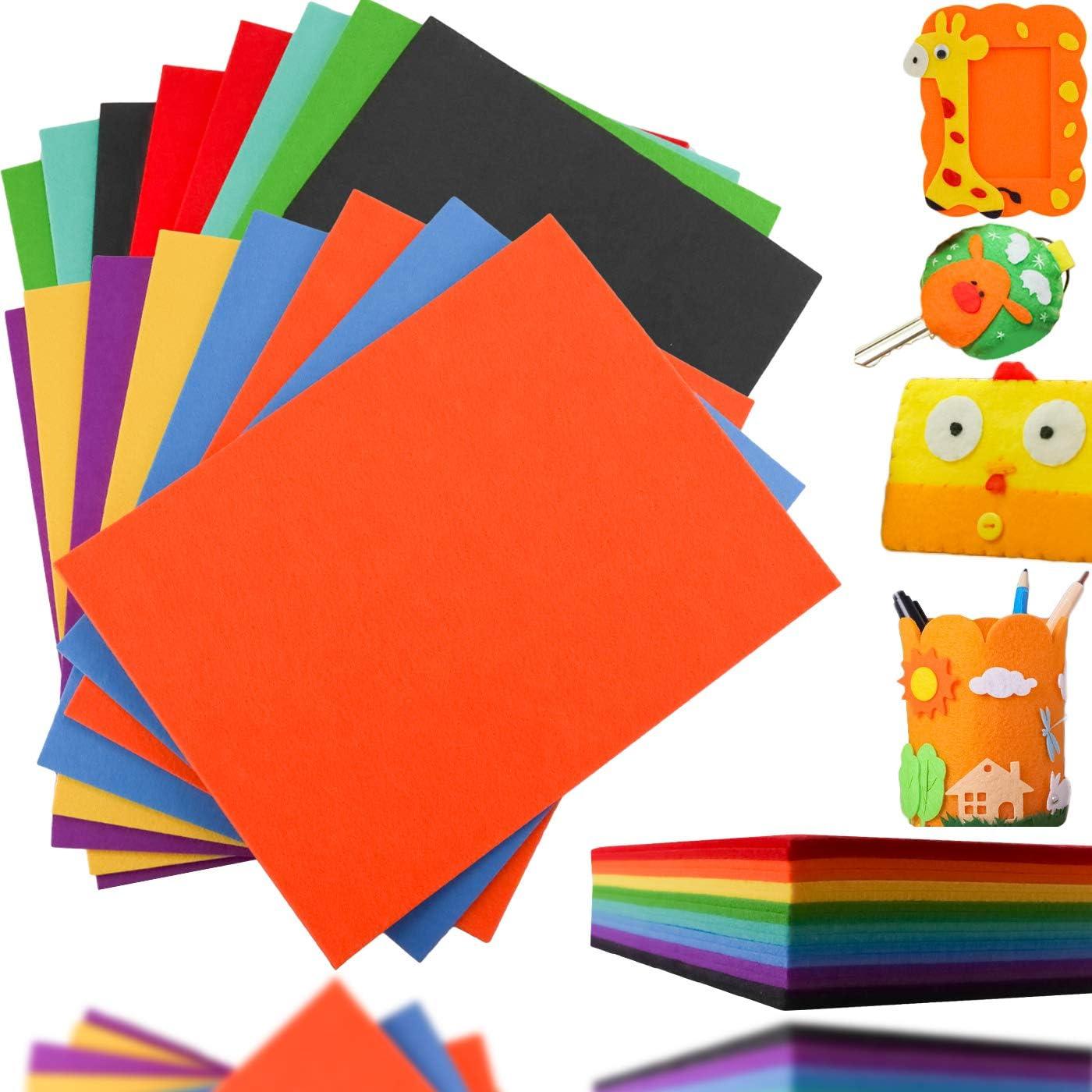 Max 61% OFF LeonBach Fees free 16 Pcs 3mm Thick Felt Craft Different Colors 8 Sheets