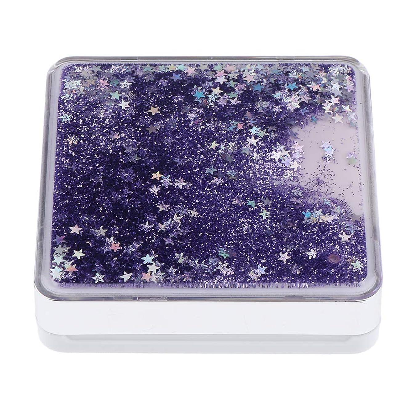 遠近法フレッシュ誠意B Baosity エアクッションケース パフ 化粧鏡 ミラー付き コンパクト 旅行小物 化粧品ケース 3色選べ - 紫