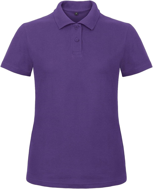B&C Womens/Ladies ID.001 Plain Short Sleeve Polo Shirt (L) (Purple)