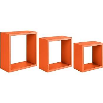 15.5x35x35 cm 3 unit/à Sanitec Incubo Mensole da Parete Arancio Legno