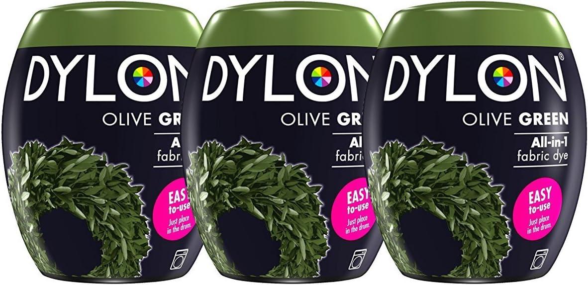 Dylon Caja de Tinte para máquina (3 Unidades), Color, Verde Oliva, 25 x 10 x 4 cm