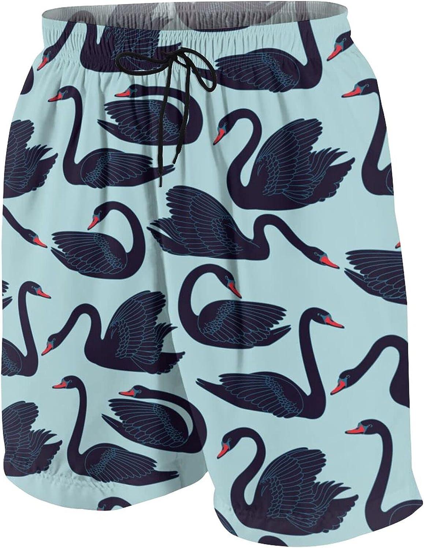 Boys Teens Swim Trunks Swans Fauna Quick Dry Beach Board Swim Shorts 7-18T