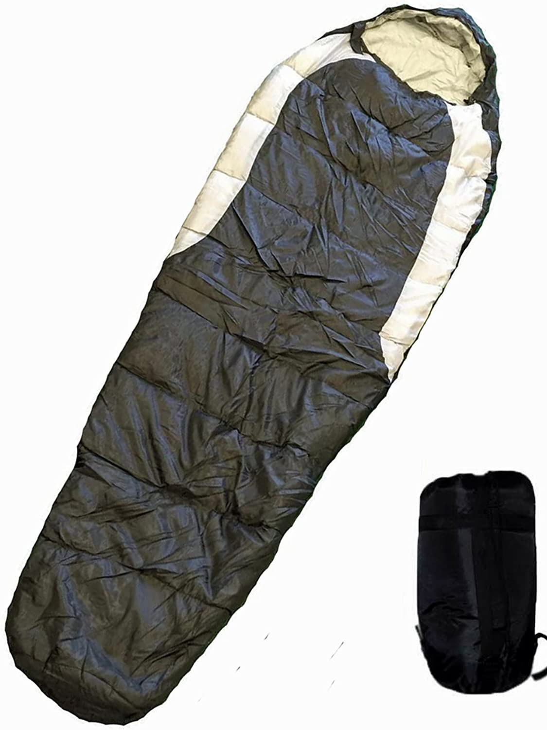 Shop4Omni Adult Mummy Type Camping Sleeping Bag with Carrying Case  Black and Grey