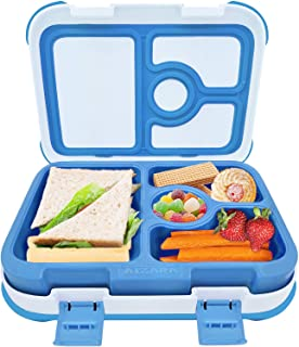 Bento Box for Kids, AIZARA Leakproof BPA Free Lunch Box Food Storage Container 4 Compartment Snack Packing for Travel & to-go Meal School Picnic Boys Girls Children and more (Blue)