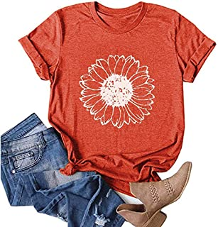 Earlymemb Womens Wildflower Shirts Summer Casual Short Sleeve Dandelion Printed Graphic Tees Tops