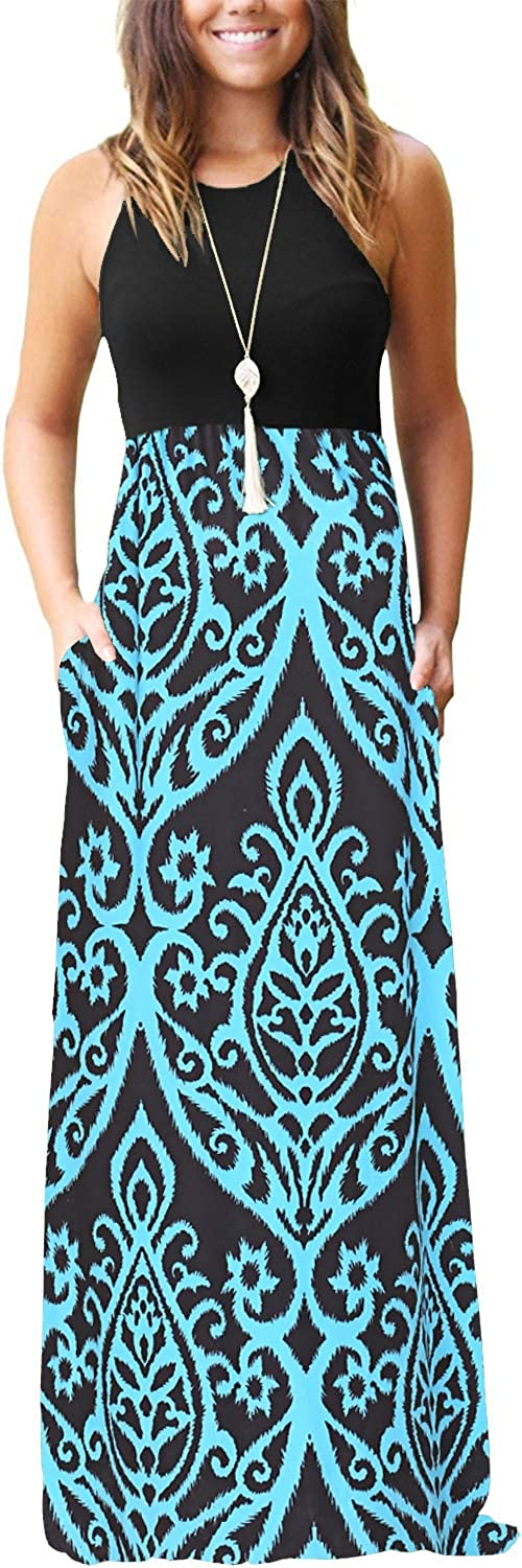 OURS Women's Casual Sleeveless Maxi Max 85% OFF Ma Long Loose Floral Dresses specialty shop