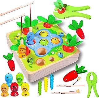 Felly Jouets en Bois pour 1 an, Montessori Forme Taille Tri Puzzle en Bois Carottes Récolte Jeu de Pêche Jouet Cadeaux pou...
