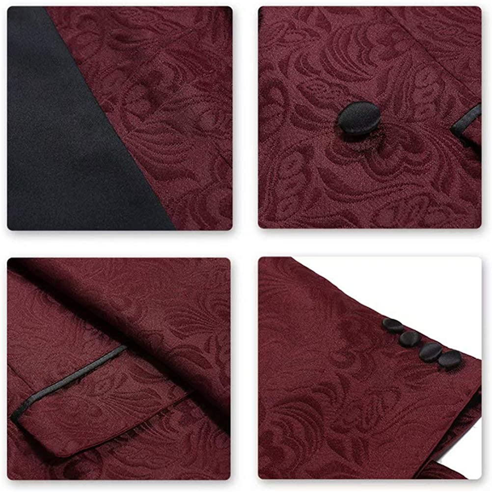 High-End Suits Burgundy Floral Suit Jacket Men 2 Pieces Double Breasted Tuxedo Formal Groomsmen/Wedding Suits for Boy