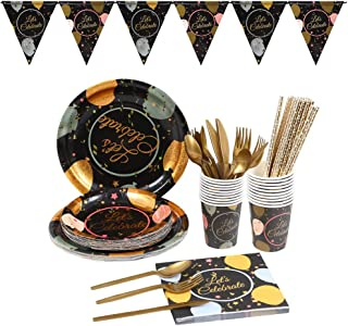 Black and Gold Dot Christmas Party Supplies Tableware Set Disposable - Satisfy 20 Guest Disposable Dinnerware Pack - Plate...