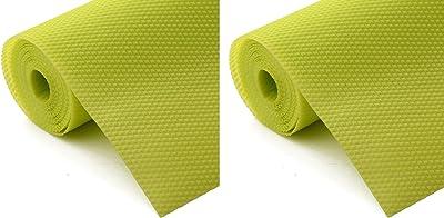 Kuber Industries 2 Pieces Multipurpose Diamond Textured Super Strong Anti-Slip Mat Liner,Size 45X150 cm (1.50 Meter Roll, Green) - CTKTC045455