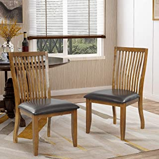 LZ LEISURE ZONE Dining and Kitchen Chairs Dining Chair with PU Covered Cushion and Rubberwood Legs, Dining Side Chair,Set of 2 (Brown)