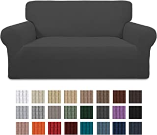 Easy-Going Stretch Sofa Slipcover 1-Piece Couch Sofa Cover Furniture Protector Soft with Elastic Bottom for Kids,Pet. Spandex Jacquard Fabric Small Checks(loveseat,Dark Gray)
